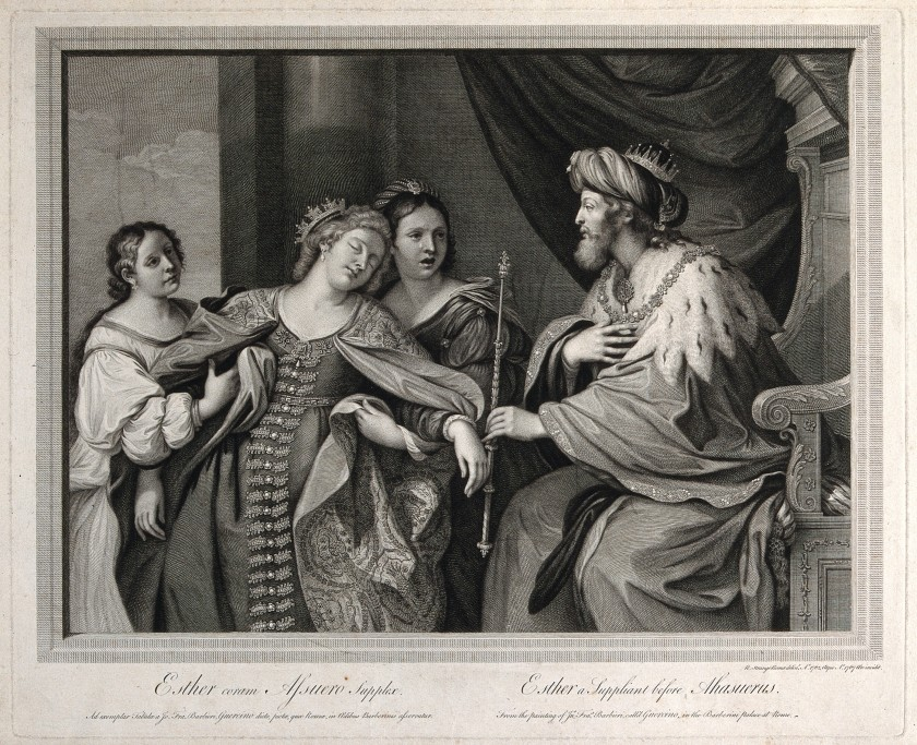 V0034399 Esther faints before King Ahasuerus. Engraving, 1767, after